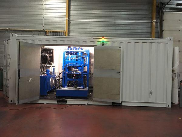 banc de test hydraulique en conteneur